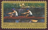 stamp usa 1967 2nd nov. mi 936 painting t.eakins the biglin brothers racing 2