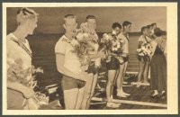 cc ger 1952 essener allgemeine zeitung og helsinki no. 743 gold medal winner 8 crew usa at the victory ceremony
