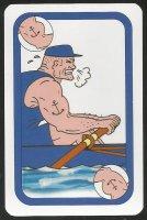 Card game AUT 1997 Oxford Cambridge Boat Race Oxford rower exerting utmost power