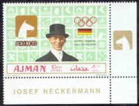 stamp ajman 1969 march 1st og mexico gold medal winners mi 451 a j. neckermann pictogram
