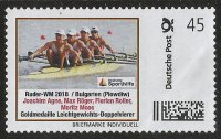 Stamp GER 2018 Deutsche Sporthilfe LM4X gold medal win for GER at WRC Plowdiw BUL