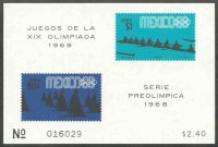 stamp mex 1968 march 21st og mexico mi bl. 13 stamps mi 1267 1268 sailing rowing