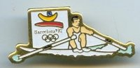 pin esp 1992 og barcelona single sculler with logol of the games