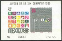 stamp mex 1968 oct. 12th og mexico mi bl. 18 stamps mi 1291 1292 pictograms logo of the games