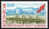 stamp mon 1988 may 26th societe des regates 100th anniversary mi 1867 m4x