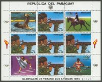 stamp par 1984 jan. 12th og los angeles ms shooting mi 1317 with four cinderellas swimming. equestrian gymnastics sculling