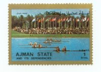 stamp ajman 1972 mi 2620 finalists of 2x event parading at og munich