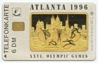 tc ger og atlanta 1996 ods o 789 06.95 925 silver pictogram with silhouette of atlanta city in background