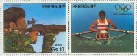 stamp par 1984 jan. 12th og los angeles shooting with attached label depicting p.m.kolbe ger in his single scull