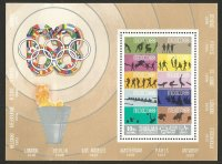 Stamp SHARJAH 1968 Oct. 15th OG Mexico Mi Bl. 43 A Stamp MEX 1968 silhouette of 8 different background colour