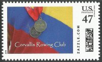 Stamp USA 2016 ZAZZLE.COM Corvallis RC Oregon FISA Maters medal presented on club colours