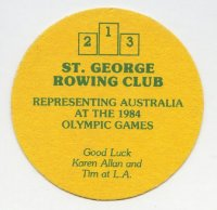 Beer mat AUS St. George RC OG Los Angeles 1984
