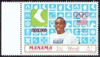 stamp ajman manama 1969 march 1st olympic winners mexico mi 204 a j. hines usa pictogram