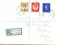 Registered letter GBR 1955 June 30th Henley Mobile Post Office A with registration label Henley on Thames No. 2009 front
