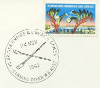 pm aus 1962 nov. 24th canning river w.a.aust. vii british empire commenwealth games crossed oars