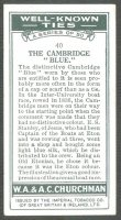 cc gbr 1934 churchmans cigarettes well-known ties no. 40 - the cambridge blue photo of boat race  lightblue tie - reverse