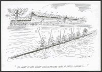 pc gbr henley rowing cartoons by b. cookson cox disguised as indian has ordered his 8 crew to use oars as paddles