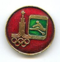 pin urs 1980 og moscow pictogram on green background with logo on red background round shape