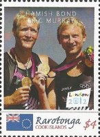 Stamp COK RAROTONGA OG London 2012 M2 gold medal winners Hamish Bond Eric Murray NZL