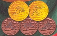 Stamp LTU 2000 Dec. 9th SS OG Sydney Mi Bl. 21 detail with Olympic pictogram No. 4 on bronze medal
