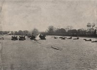 PC GBR undated The Boat Race 1895 from Barnes Bridge photo from book The Queens London Casell Co. London 1896