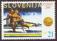 stamp slo 2000 oct. 16th gold medal winners of slo at og sydney mi 327 i. cop l. spik