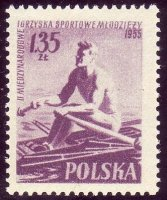 stamp pol 1955 july 27th mi 938 a youth games single sculler