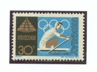 stamp uru 1969 febr. 6th og mexico mi 1132 sculler