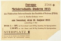 Ticket GER 1935 ERC Berlin Aug. 18th day of finals Coll. JE