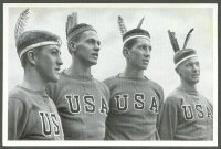 cc ger 1936 og berlin reemtsma band ii no. 111 b w photo of usa athletes watching their comrades on the water