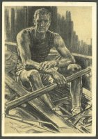 pc ger og berlin denkt an olympia 1936 werbepostkarte no. 17 pu 1936 drawing of sweep oar rower