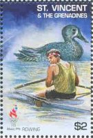 stamp vin 1995 aug. 24th mi 3198 og atlanta single sculler duck