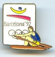 pin esp 1992 og barcelona sculler with logo and olympic rings on white background