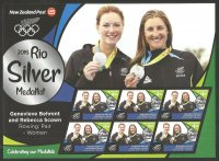 Stamp NZL 20116 MS OG Rio de Janeiro W2 silver medal winners Genevieve Behrent Rebecca Scown