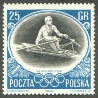 stamp pol 1956 nov. 2nd og melbourne mi 986 teodor kozerka m1x bronze medal winner at og helsinki 1952 and rome 1960 also european champion 1955