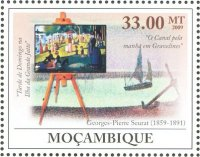 stamp moz 2009 g. p. seurat painting sunday afternoon