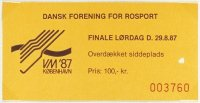 Ticket DEN 1987 WRC Copenhagen Aug. 29th day of finals Coll. JE