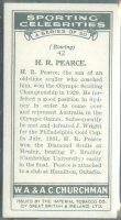 cc gbr 1931 churchmans cigarettes sporting celebrities no. 42 - h.r. pearce aus - reverse