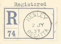 pm gbr 1937 july 2nd henley regatta on registered letter label no. 74