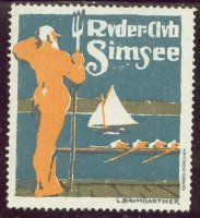 cinderella ger ruder club simsee poseidon on pontoon watching a four and a sailing boat