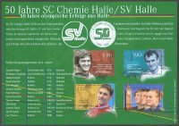 stamp ger 2008 june 30th mzz halle ms 50 years sc chemie halle sv halle with list of olympic gold medal winners from halle 6 in rowing