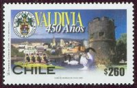 stamp chi 2002 valdivia 450 years mi 2062 4x in yellow boat