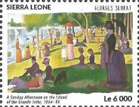 Stamp SLE 2015 Sept. 25th painting A Sunday Afternoon by Georges Seurat