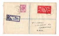 Registered letter GBR 1953 July 1st Henley Mobile Post Office