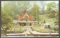 pc gbr shrewsbury pengwern bc 1908 coloured photo of boathouse