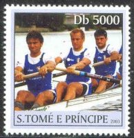 stamp stp 2003 apr. 1st og athens 2004 mi 2177 three sweep oar rowers in blue clothing