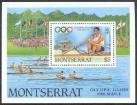 stamp montserrat 1988 july 29th og seoul ss mi bl. 49 sinle sculler drawing of 2x finalists parade at og munich 1972
