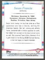 cc usa 2012 topps company u.s. olympic team rowing gold card no. 57 susan francia reverse