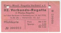 ticket ger 1935 july 14th first duisburg wedau regatta