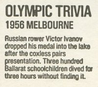 Matchbox cover AUS 1984 Bryant May Olympic Trivia 1956 Melbourne detail